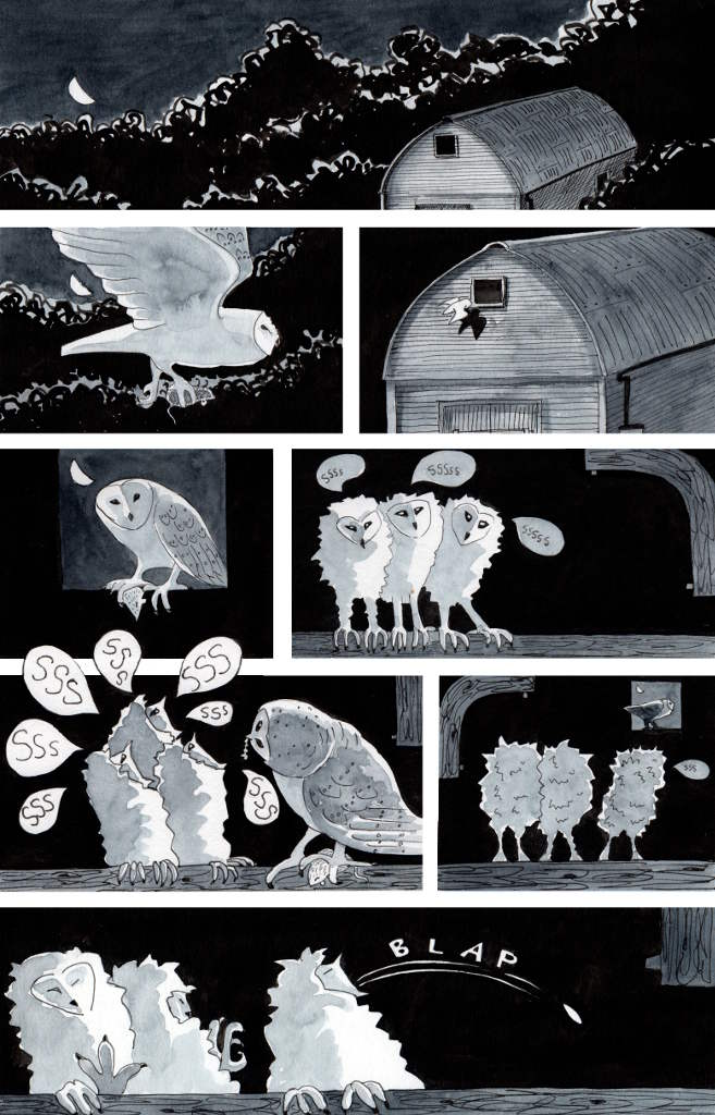 a one page cartoon depicting a barn owl bringing food to  three chicks