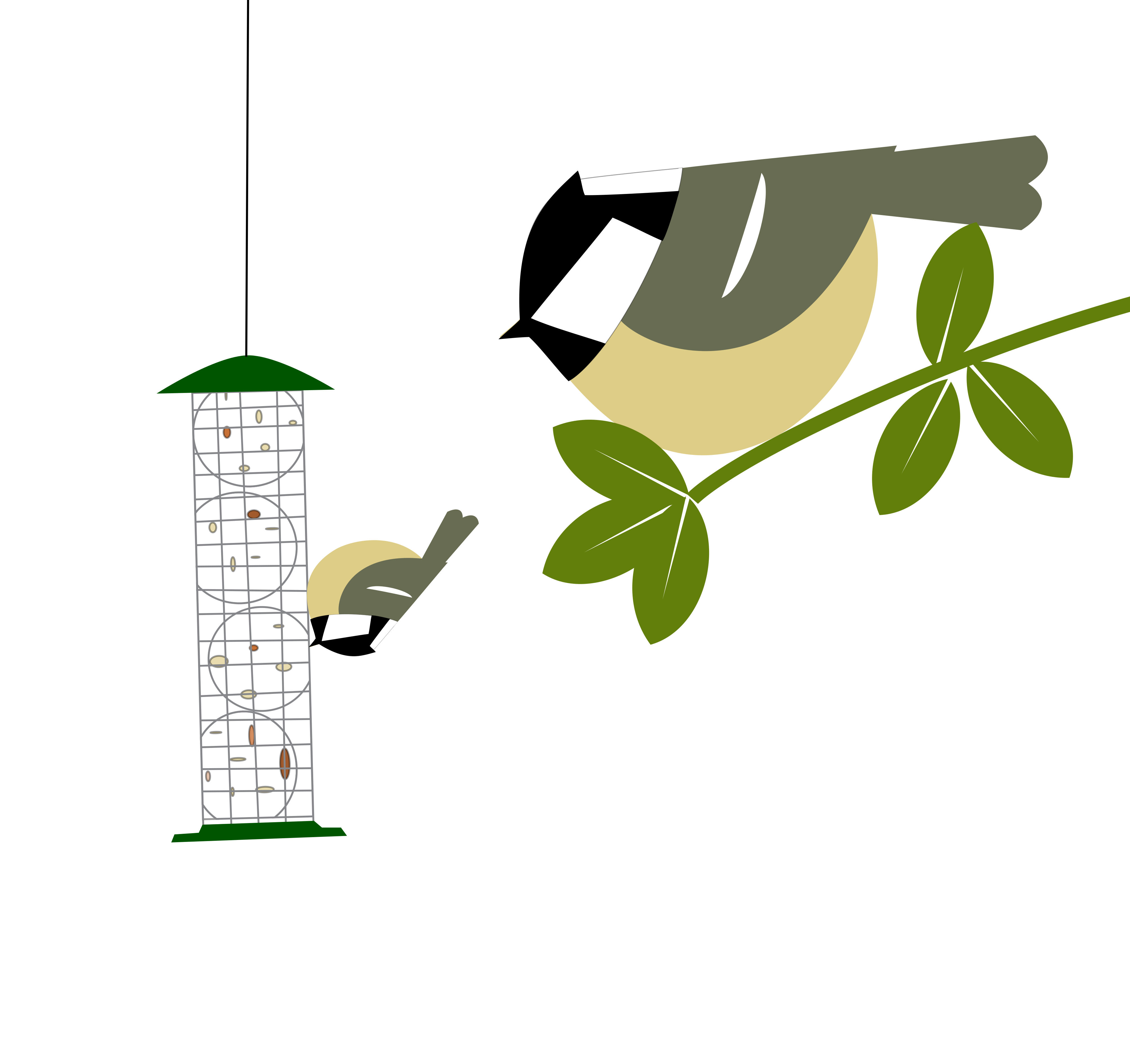 a coal tit waits its turn on a twig while another coal tit is at the feeder. Simply drawn with flat bold colours on a white background