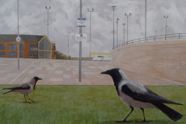 painting of two hooded crows on an ornamental lawnoutside the Waterfront Hall in Belfast