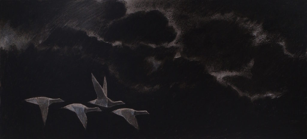 four brent geese migrating at night. a faint light from the moon creeps around the clouds