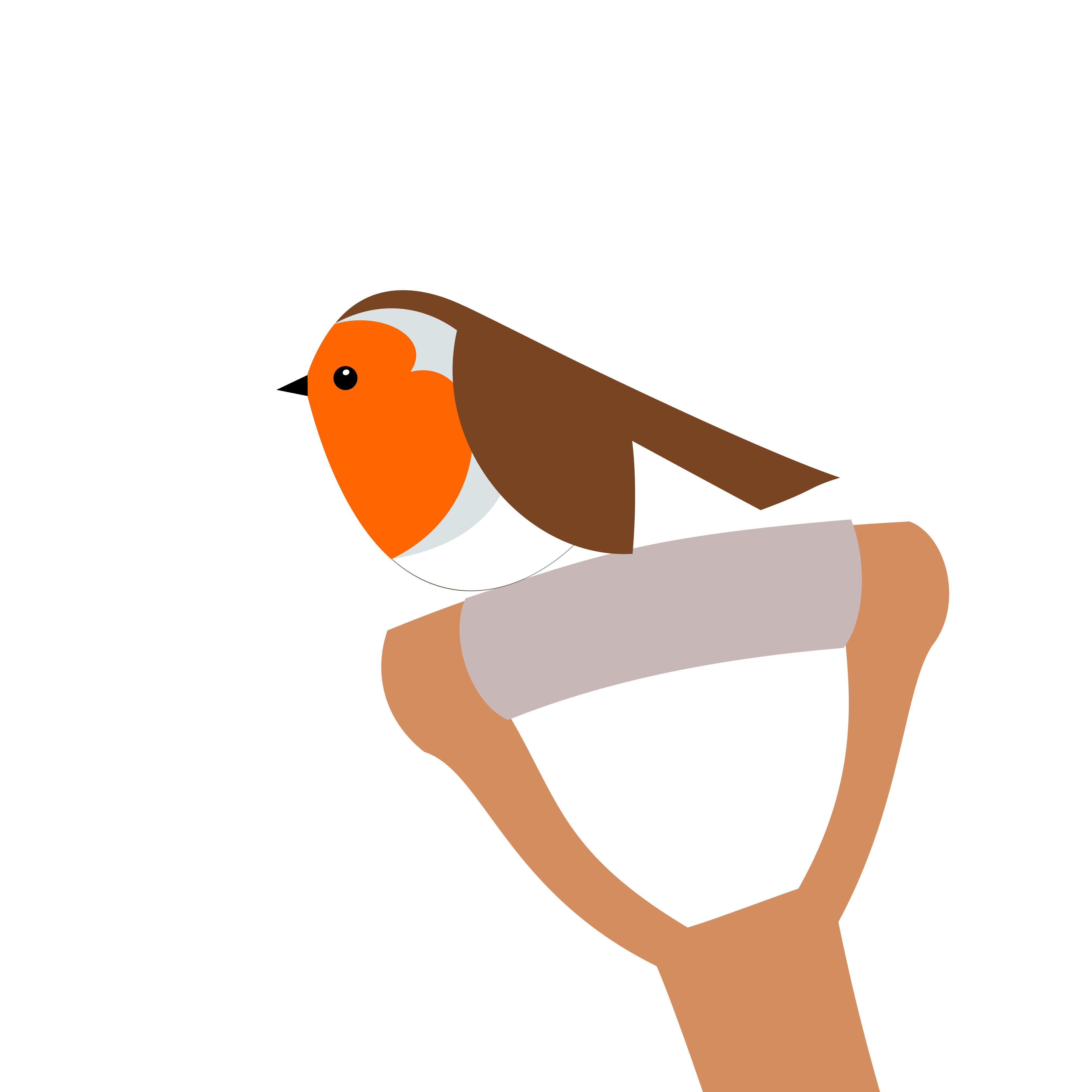A robin perched on top of a spade handle. Simply drawn with flat bold colours on a white background