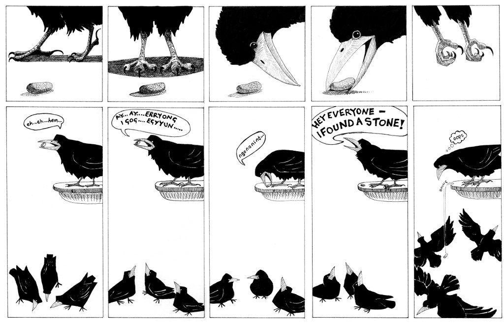 a one page cartoon depicting a rook finding a stone and calling to other rooks