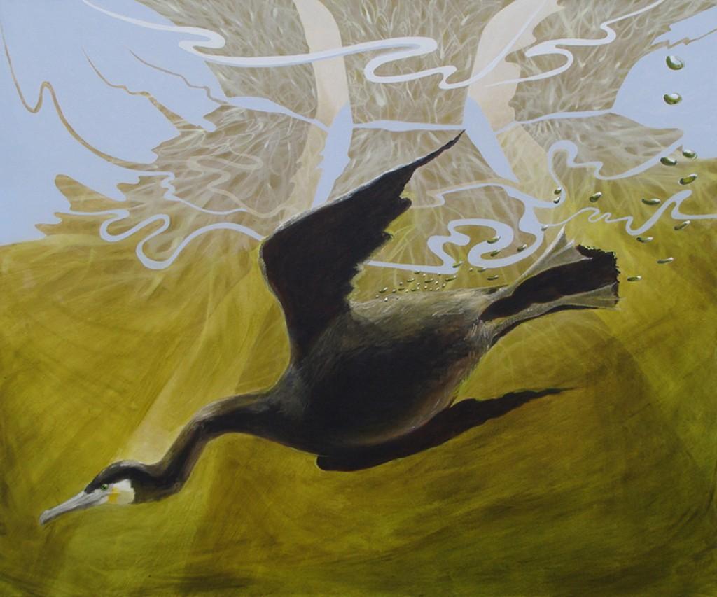 painting of a cormorant diving under a motorway bridge