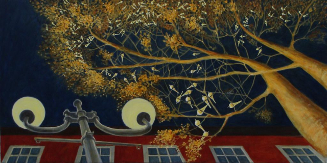 Paintings of wagtails in a tree at night
