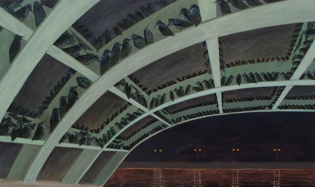 A large painting of starlings roosting under a bridge at night