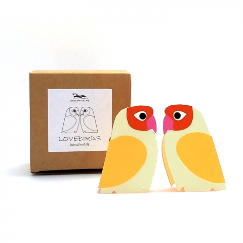 two yellow paper lovebirds with gift box