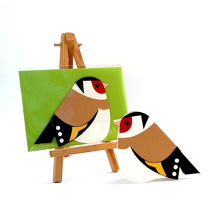handmade greetings card in the shape of a goldfinch with a green envelope