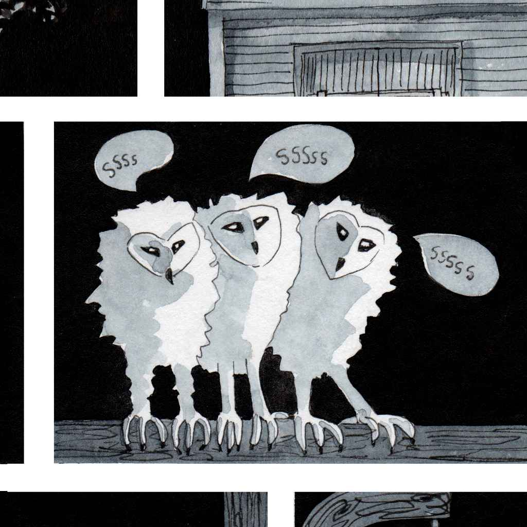 cartoon of Baby Owls hissing. Ink and watercolour