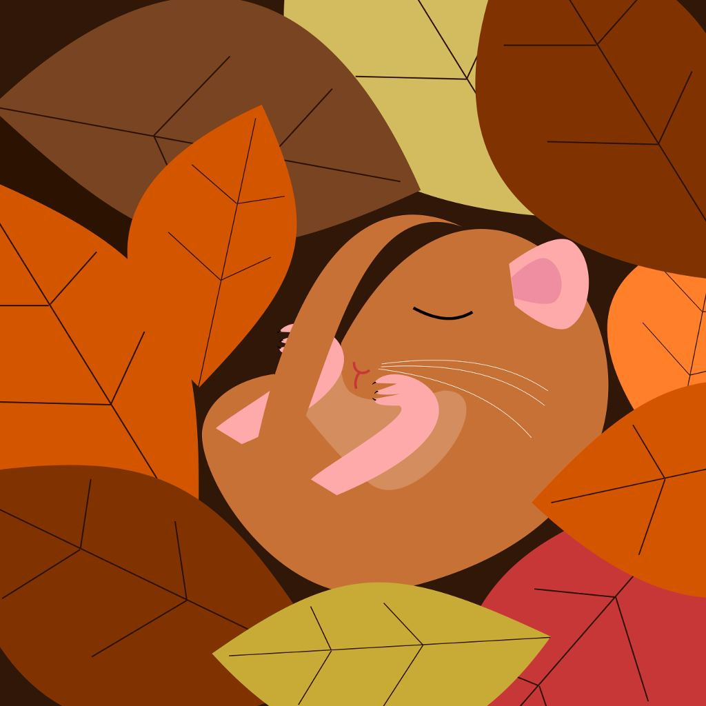 Vector drawing of a sleepy doormouse in a nest of autumn leaves