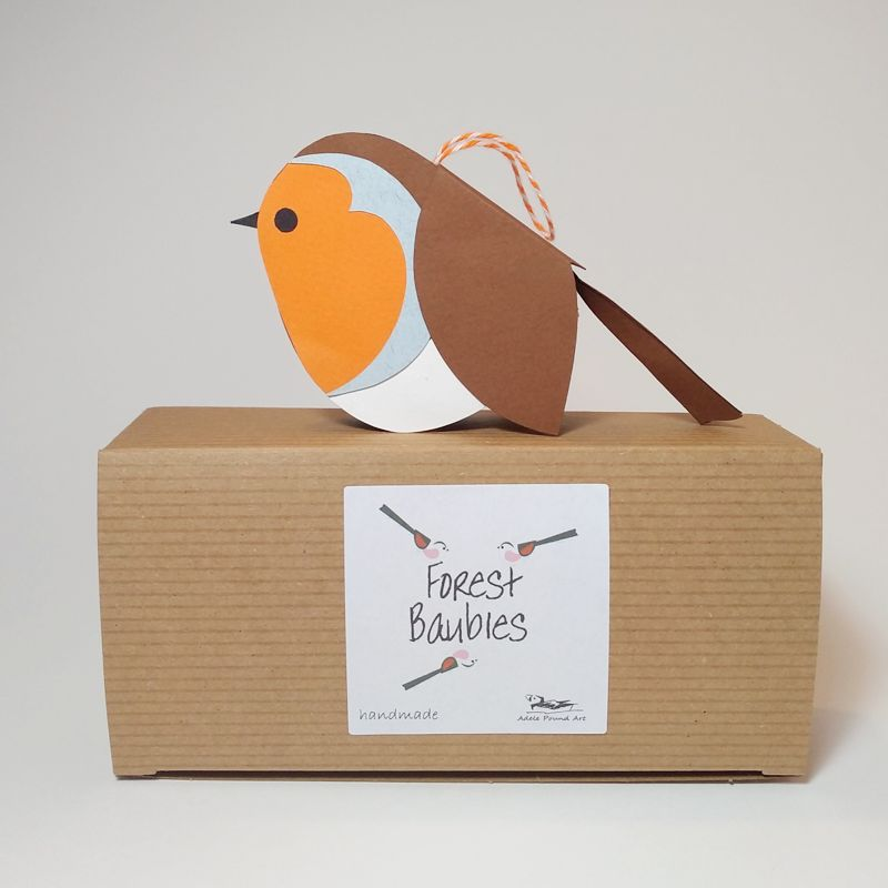 handmade paper robin decoration with gift box