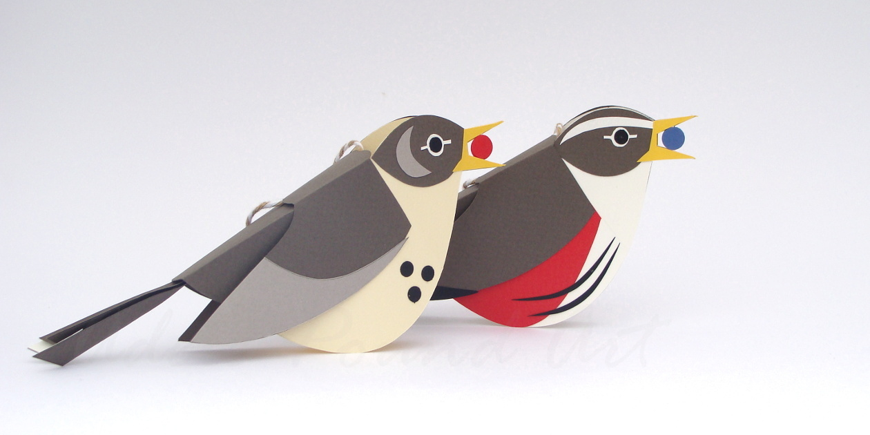 handmade paper mistle thrush and redwing decorations