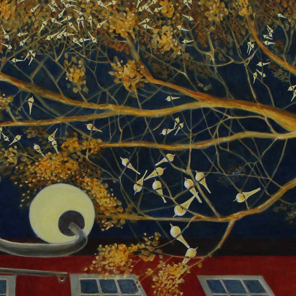 acrylic painting of wagtails in a tree at night