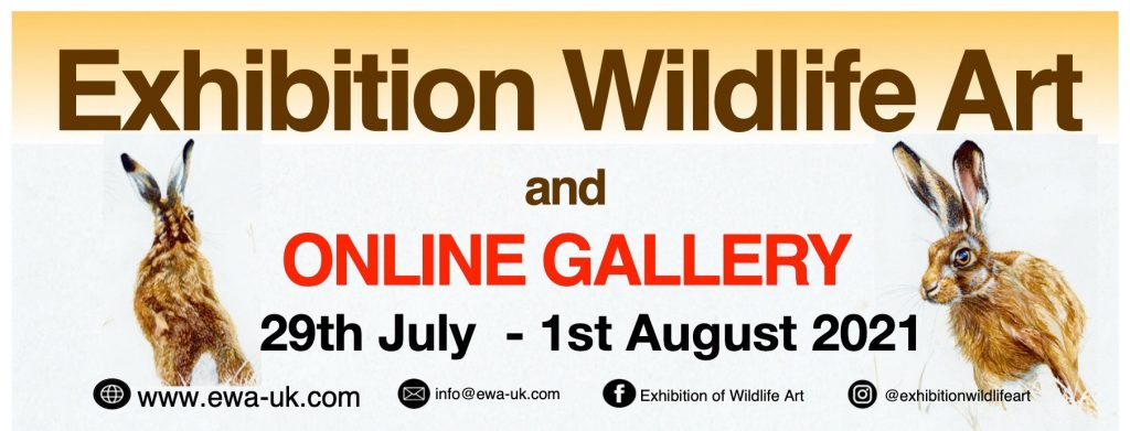 advertising banner. Exhibition Wildlife Art and online gallery 29th July to 1st August 2021