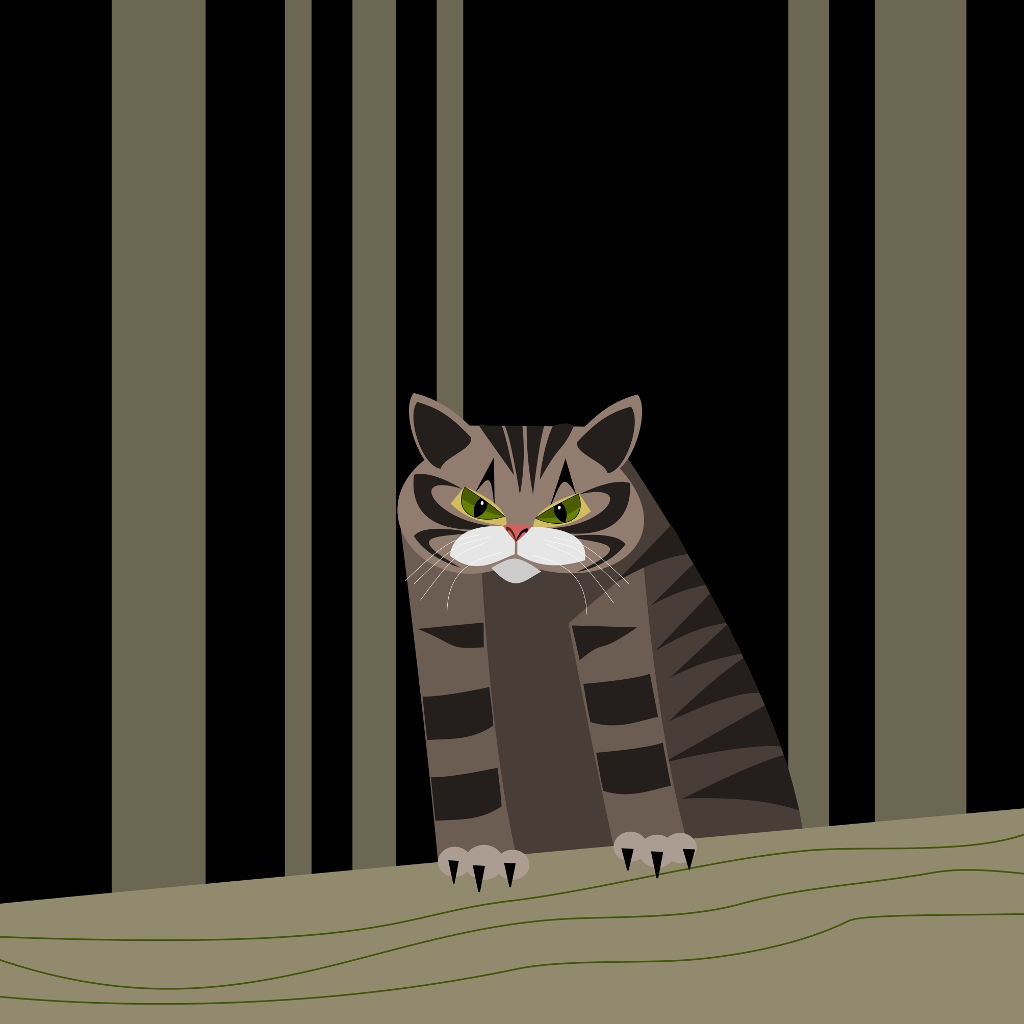 digital illustration of a scottish wildcat standing on a log and looking angrily at the viewer